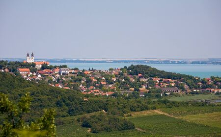 Panoramic view of Tihany with Lake Balaton. Stock Photo