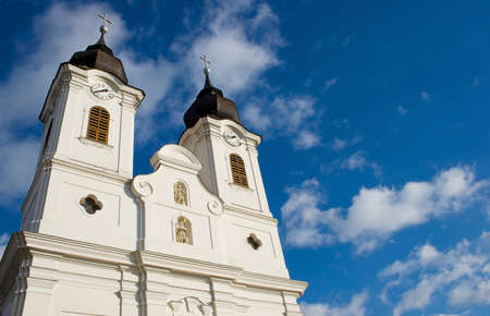 Towers of the Tihany abbey at lake Balaton, Hungary Stock Photo - 17615948