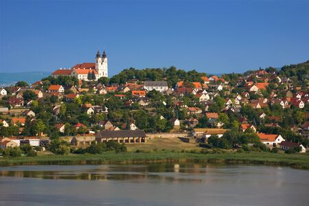 Tihany abbey with the village and the inner lake. Stock Photo