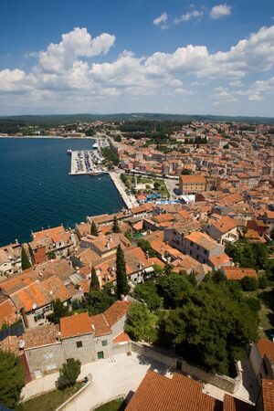 View of Rovinj city from the tower of Saint Euphemia's Basilica in Croatia. photo