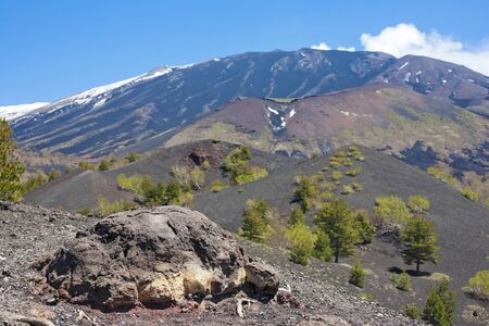 Volcanic bomb stone in the front, The Etna volcano in the back. Stock Photo