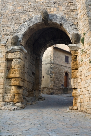 The old Etruscan gate of Volterra in Italy.
