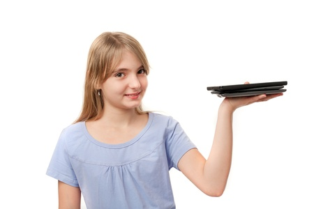 Tablets and ebook readers - Cute girl holding several tablets on her palm. Stock Photo - 18184246