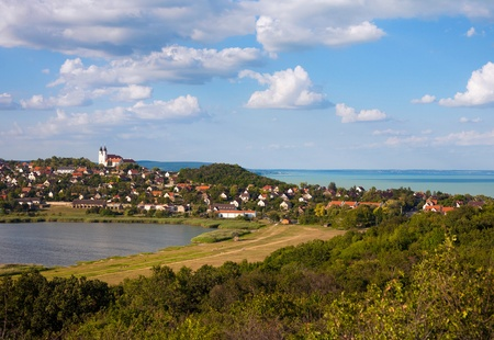 Tihany Abbey with the Inner lake and Lake Balaton in the back.