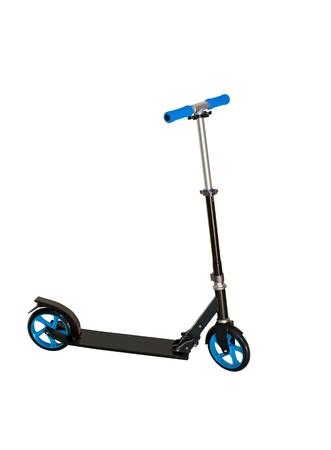 Black push scooter on white Stok Fotoğraf