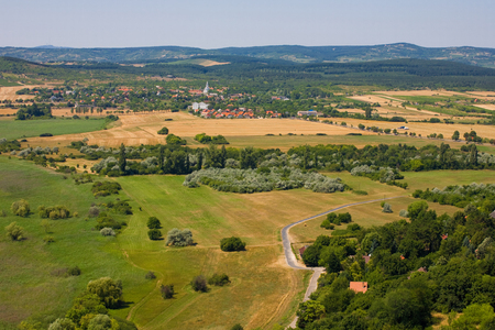 Rural landscape from air near to Lake Balaton, Hungary