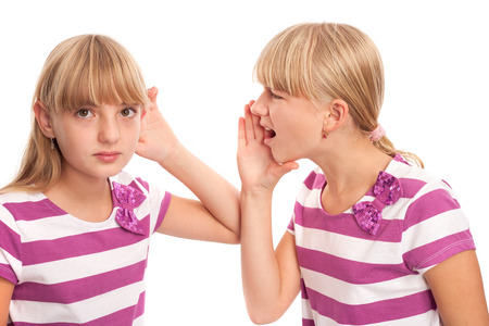 deafness: Hearing problems - Girl shouting with a deaf person Stock Photo