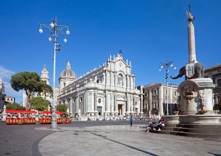Piazza del Duomo in Catania with Cathedral of Santa Agatha in Catania in Sicily, Italy Editorial