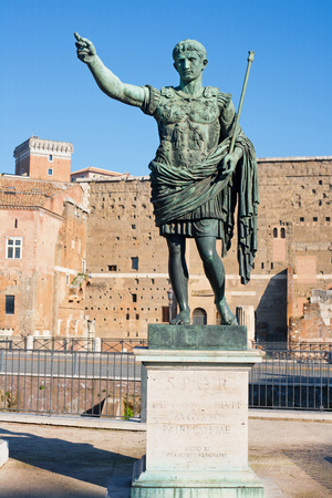 ITALY – DECEMBER 21, 2013  Statue of Augustus Ceasar in Rome, Italy