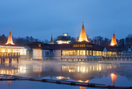 Heviz spa in Hungary at night  Lake Heviz is the 2nd largest natural thermal lake in the world