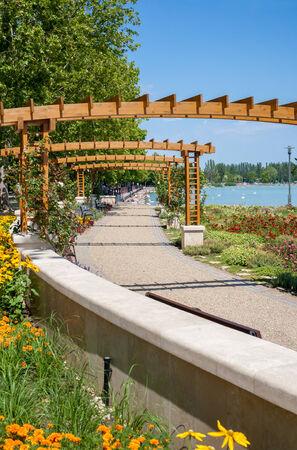 balaton: Lake Balaton beach and flower garden at Balatonfured, Hungary