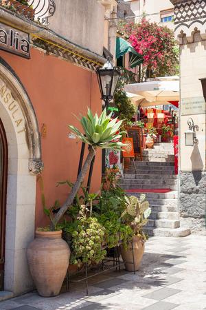 taormina: TAORMINA, ITALY - MAY 11, 2012: Street detail in Taormina, Sicily