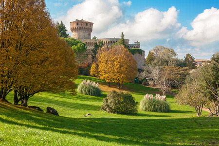 volterra: Medici fortress with the park in Volterra in Tuscany, Italy Editorial