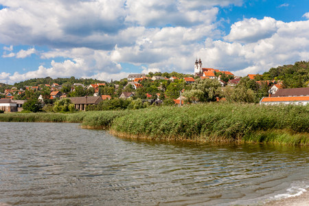 Landscape of Tihany from the inner lake with the bendictian Abbey in Hungary photo