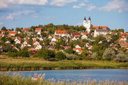 balaton: Tihany village from the inner laki at lake Balaton, Hungary Stock Photo