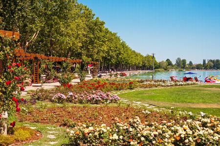 tagore: Lake Balaton beach and flower garden at Balatonfured, Hungary