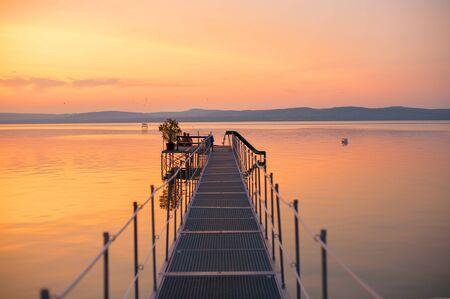 Wonderful sunset over Lake Balaton, Hungary Stock Photo