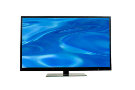 tv monitor: Flat led TV monitor with abstract blue bacground in its screen on white, clipping paths (tv and the screen also) included Stock Photo