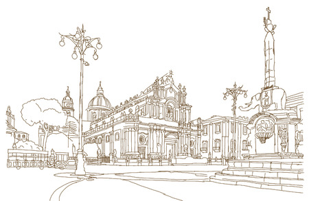 Hand drawn sketch of Piazza del Duomo in Catania with Cathedral of Santa Agatha in Catania in Sicily, Italy