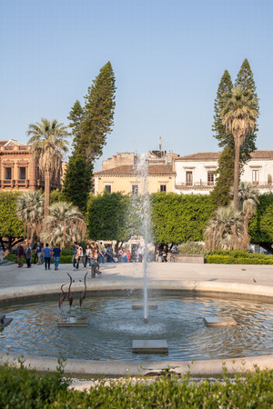 bellini: CATANIA, ITALY - MAY 12, 2012: Fountain in Villa Bellini public park in Catania. Villa Bellini is the one of the most beautiful public garden in Europe