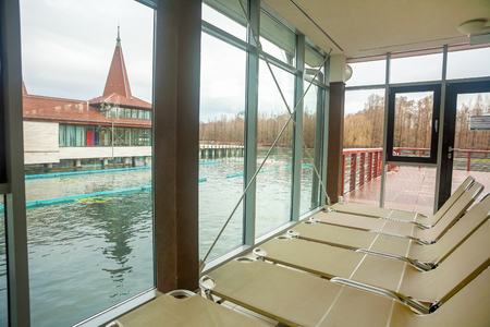 beneficial: HEVIZ, HUNGARY - 09 FEBRUARY, 2014: Inside Heviz spa in Hungary. Lake Heviz is a natural thermal lake and it has beneficial effects on rheumatic,osteoporosis diseases, Bechterew syndrome