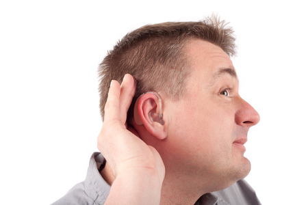 can't: Man wearing hearing aid cant hear anything