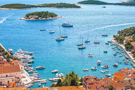 Hvar city harbor from the spanish fortress in Croatia