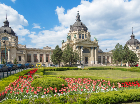 bath: The Szechenyi Bath in Budapest, Hungary with a flower garden in the front. Editorial
