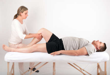 alternative practitioner: Bowen therapy - massage treatment of a man