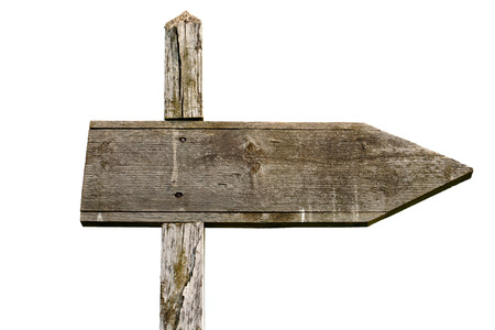 Old wooden sign isolated on white background photo
