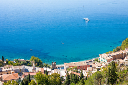 View of Taormina wiht the sea from Castelmola
