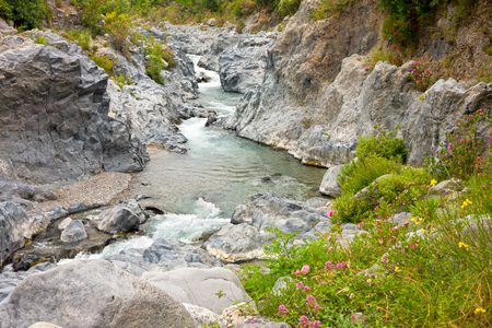 Alcantara river gorge near to Etna volcano in Sicily, Italy photo