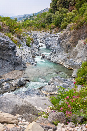 Alcantara river gorge near to Etna volcano in Sicily, Italy (HDR image) photo