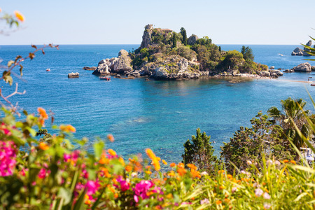 isola: View of Isola Bella with flowers in Taormina, Sicily, Italy Stock Photo