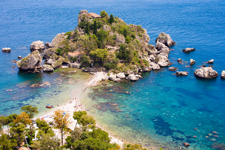 isola: Panoramic view of Isola Bella  in Taormina, Sicily, Italy