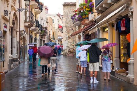 taormina: TAORMINA, ITALY - MAY 31, 2015: A rainy day in Taormina, Sicily, Italy