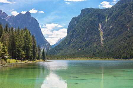 sudtirol: Lake dobbiaco, in Dolomites mountain, Italy, Sudtirol