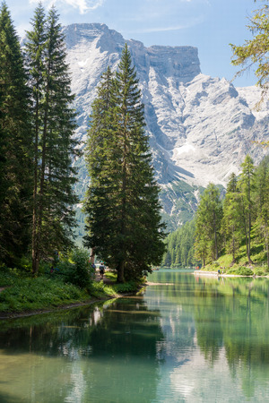 Lake Braies in the Dolomites with the Seekofel mountain in the background, Sudtirol,Italy