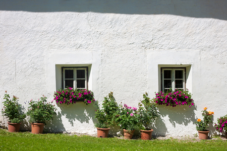 sudtirol: Windows with flowers from south Tirol, Italy (Sudtirol) Stock Photo