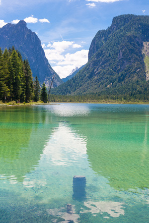 sudtirol: Lake dobbiaco, in Dolomites mountain, Italy, Sudtirol (portrait orientation)