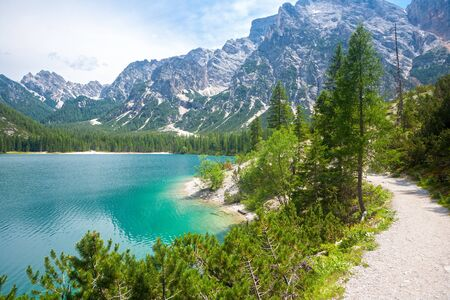 hiking trail: The hiking trail around Lake Braies in the Dolomites , Sudtirol,Italy Stock Photo