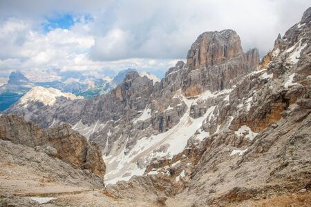 sudtirol: Panoramic view of Mountain peaks from the Forcella Staunies in the Dolomites (Italy, Sudtirol) Stock Photo