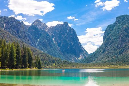 sudtirol: Pedal boat on Lake dobbiaco, in Dolomites mountain, Italy, Sudtirol