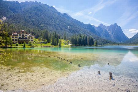 sudtirol: Panoramic view of Lake Dobbiaco, in The Dolomites, Italy, Sudtirol Stock Photo