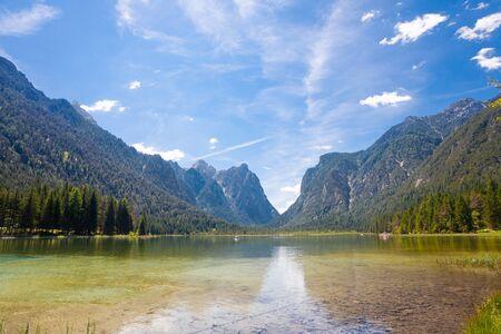 sudtirol: Panoramic view of Lake Dobbiaco, in Dolomites mountain, Italy, Sudtirol Stock Photo