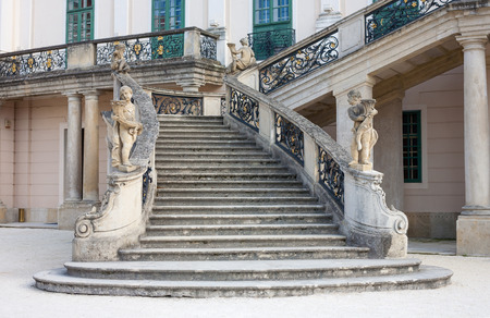 banister: Esterhazy Palace! baroque stone stairway and wrought iron banister in Fertod, Hungary