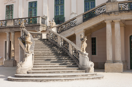 banister: Baroque palaces stone stairway and wrought iron banister in Fertod, Hungary