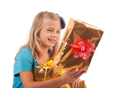 unwrapping: Cute girl got a lot of gifts
