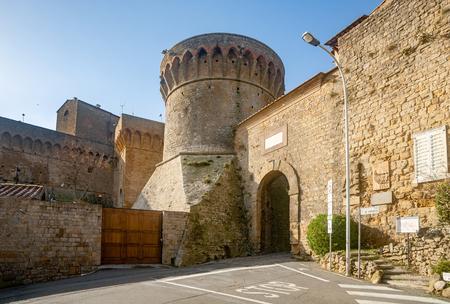 volterra: Volterra, Italy - November 22, 2014: The Medici Fortress and Selci Gate in Volterra, Italy