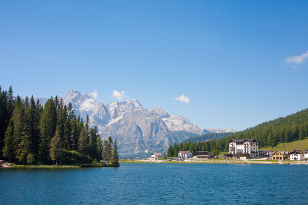 lake misurina: Lake Misurina at a sunny day in the Dolomites in Italy Stock Photo